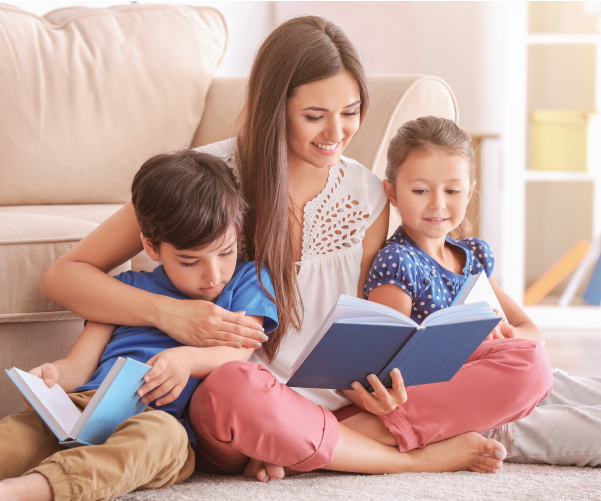 mother keeping children mentally well by reading with them