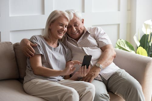 older adults video chatting