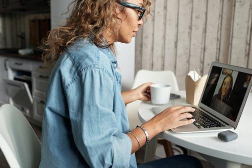 woman teletherapy session pandemic burnout
