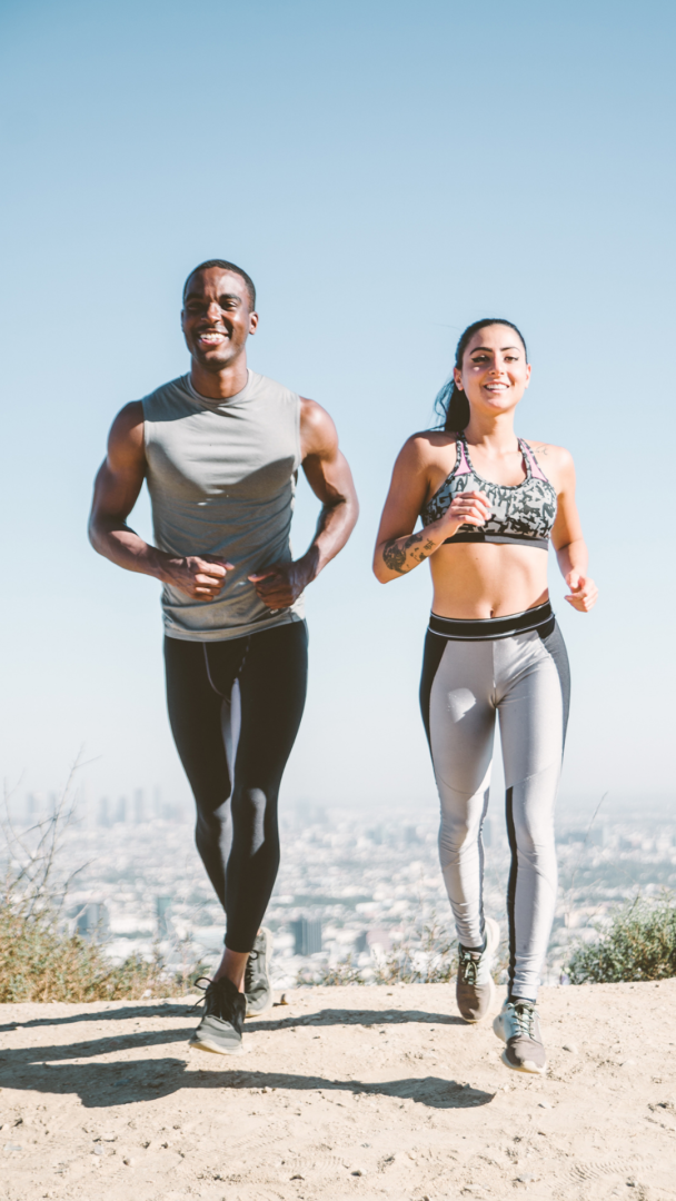 two young adults running exercise preventing burnout